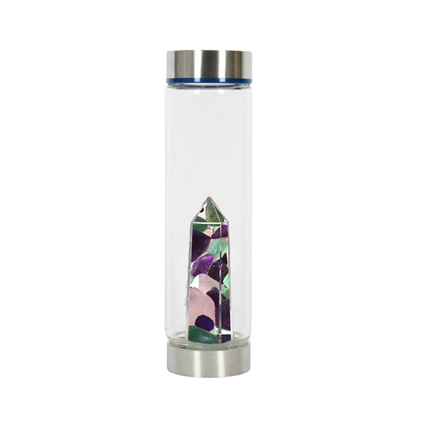 Bewater Glow Glass Bottle - Rose Quartz, Amethyst and Aventurine Quartz