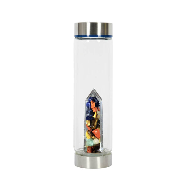 Bewater Magic Water Glass Bottle - Red Jasper, Sodalite, Tiger's Eye, Green and Yellow Aventurine