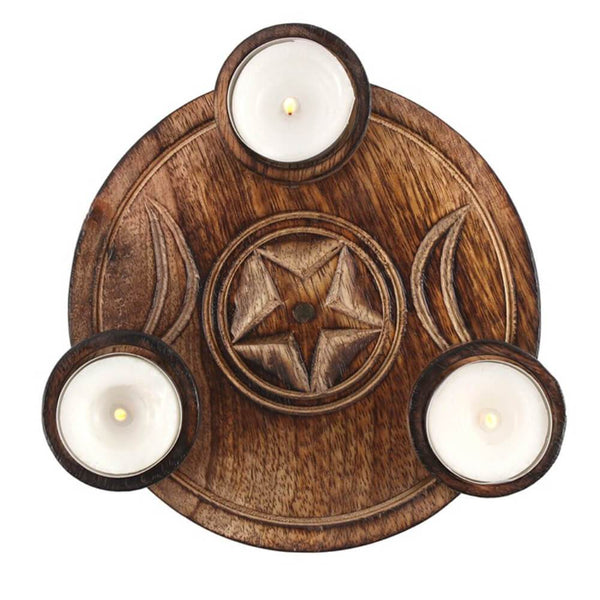 Triple Moon Tealight Candle Holder