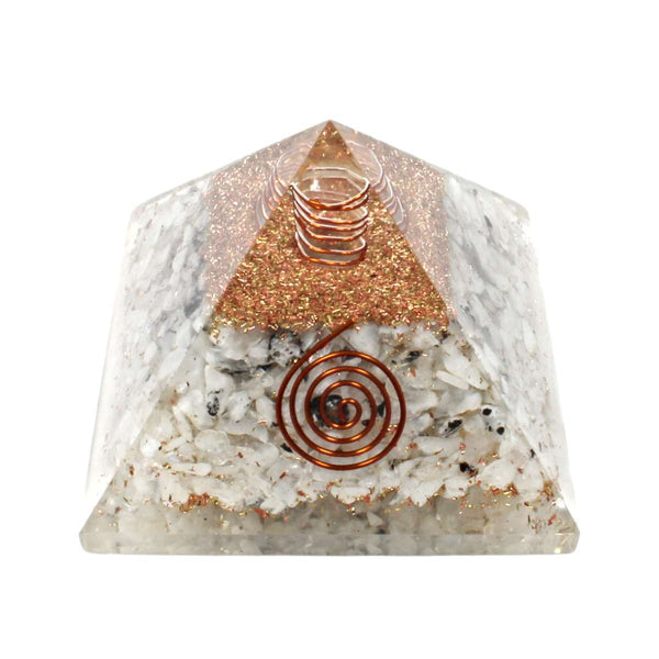 Rainbow Moonstone With Copper Quartz Orgone Pyramid (7cm)