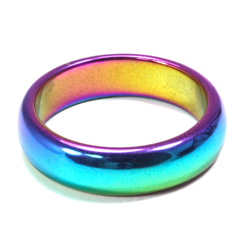 Rainbow Hematite Healing Crystal Ring (Thick)
