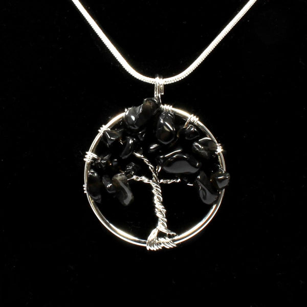 Black Obsidian Tree Of Life Pendant With Chain