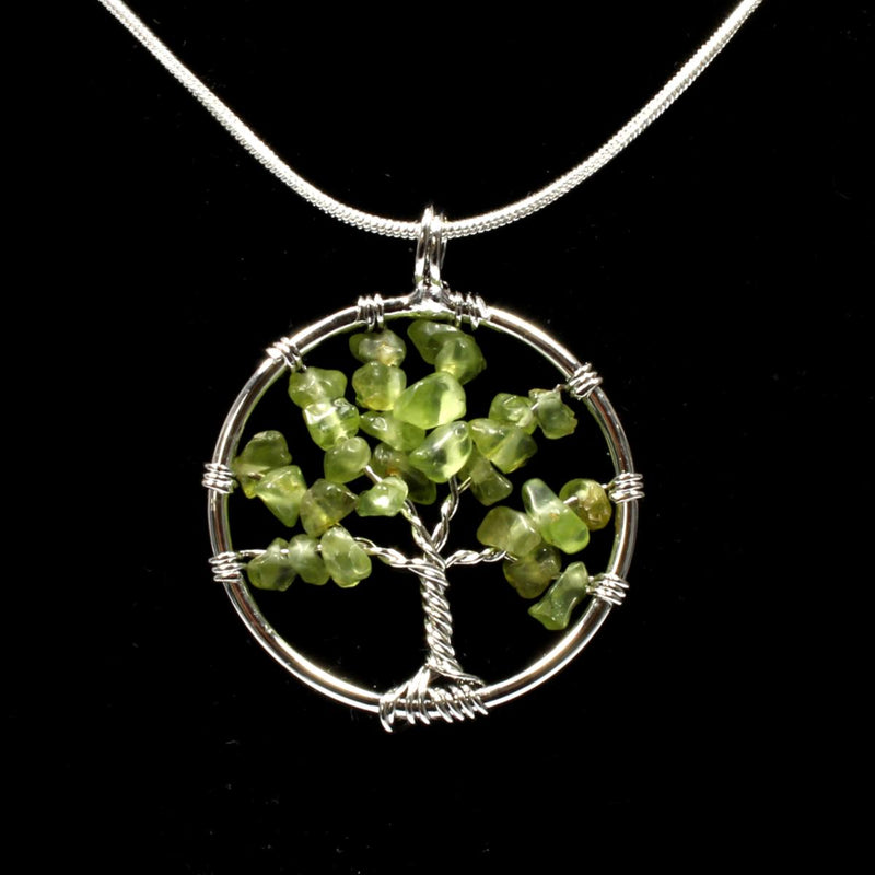 Peridot Tree Of Life Pendant With Chain