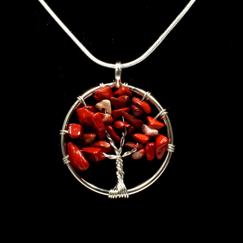 Red Jasper Tree Of Life Pendant With Chain