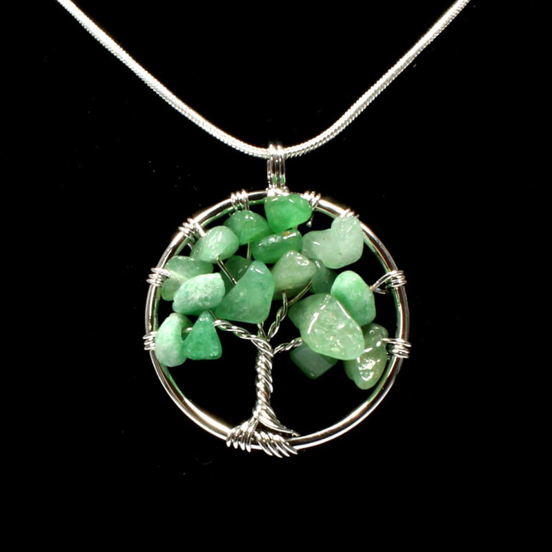 Green Aventurine Tree Of Life Pendant With Chain