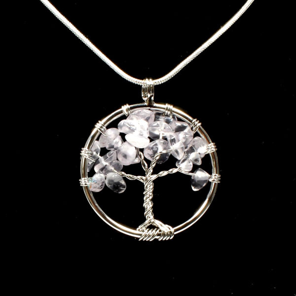 Clear Quartz Tree Of Life Pendant With Chain
