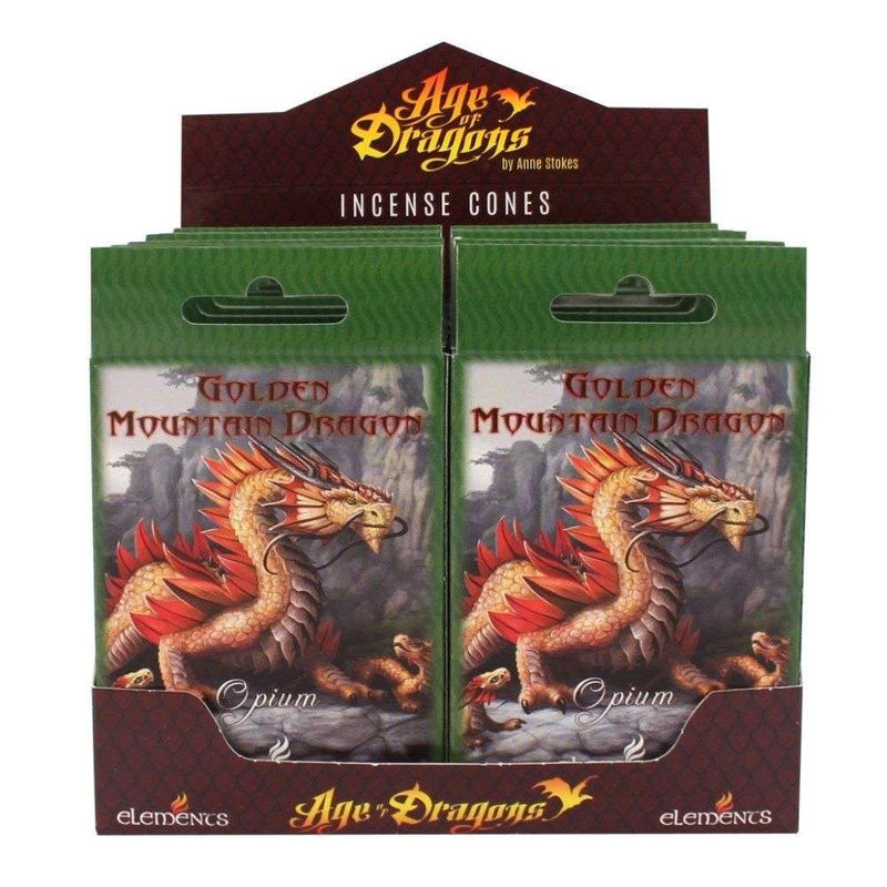 Golden Mountain Dragon Incense Cones by Anne Stokes