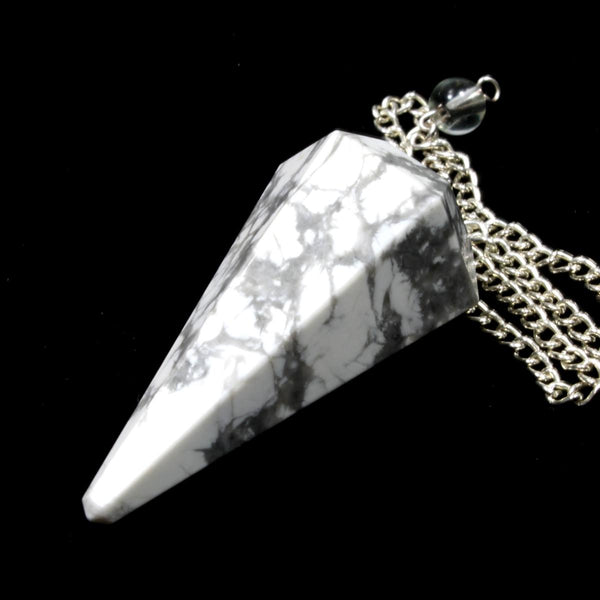 White Howlite Faceted Cone Pendulum