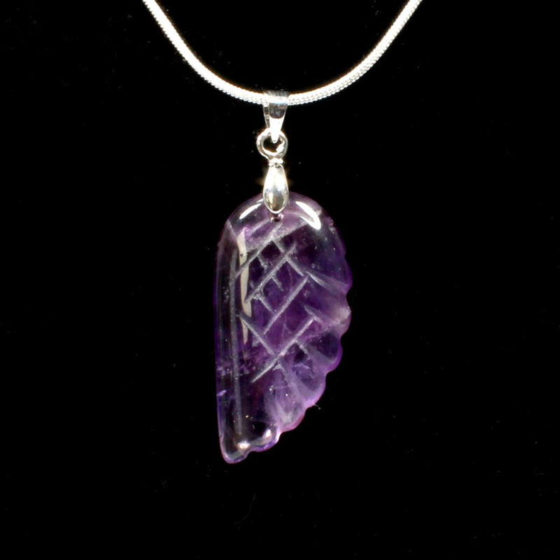 Amethyst Angel Wing Pendant With Chain