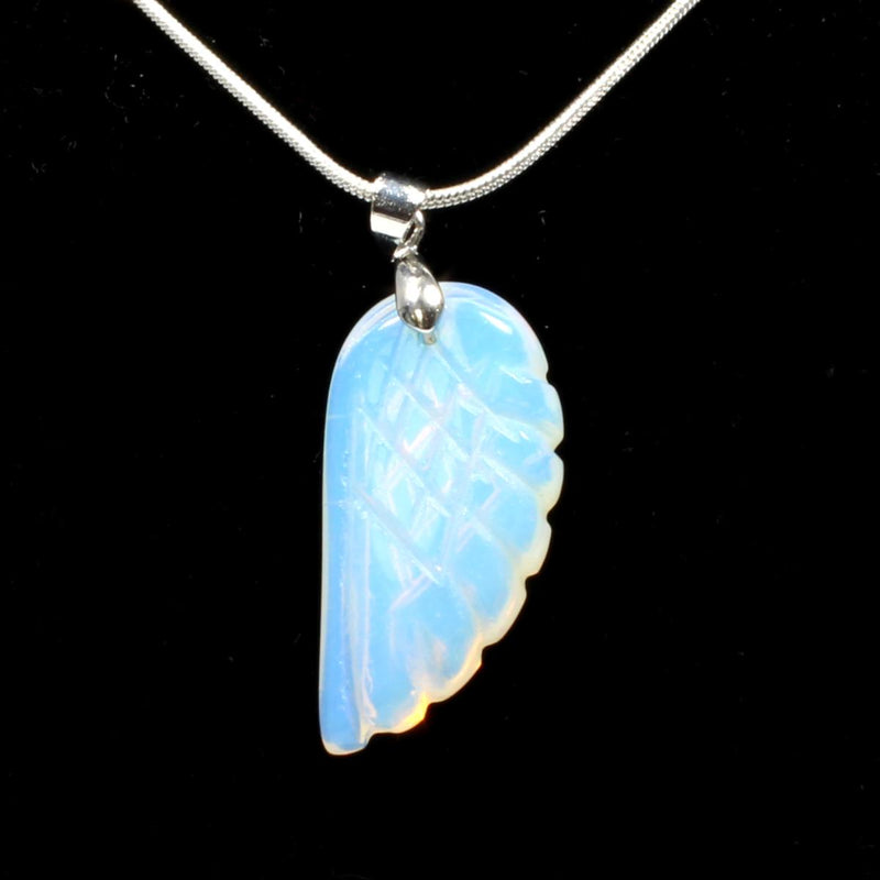Opalite Angel Wing Pendant With Chain