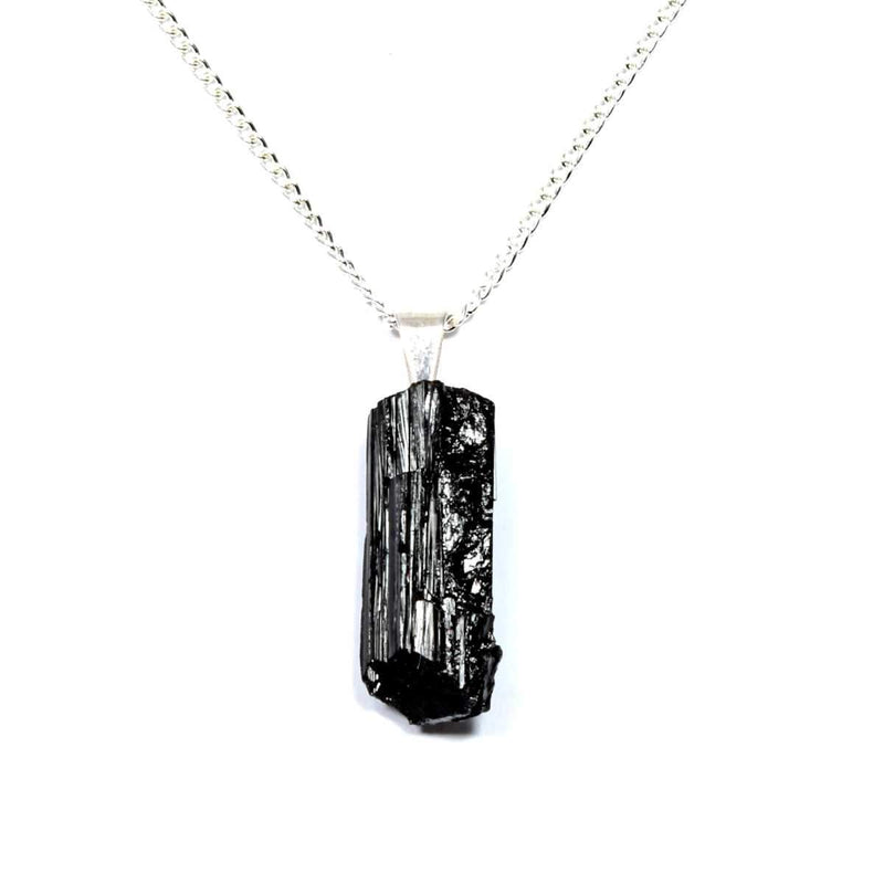 Black Tourmaline Rough Crystal Pendant