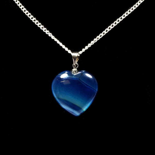 Blue Agate Heart Pendant with Chain