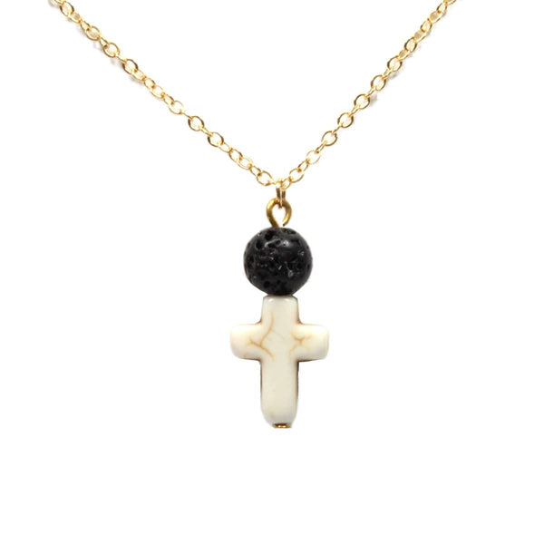 Lava Stone Necklace & Cross - Gold