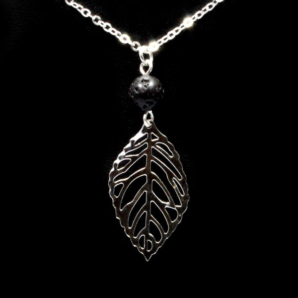 Lava Stone Necklace & Leaf - Silver
