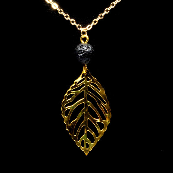Lava Stone Necklace & Leaf - Gold