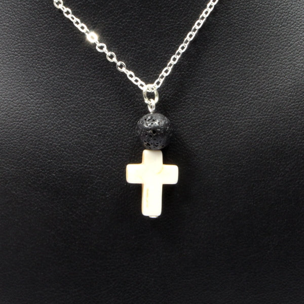 Lava Stone Necklace & Cross - Silver