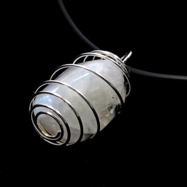 Rainbow Moonstone Wire Wrapped Necklace