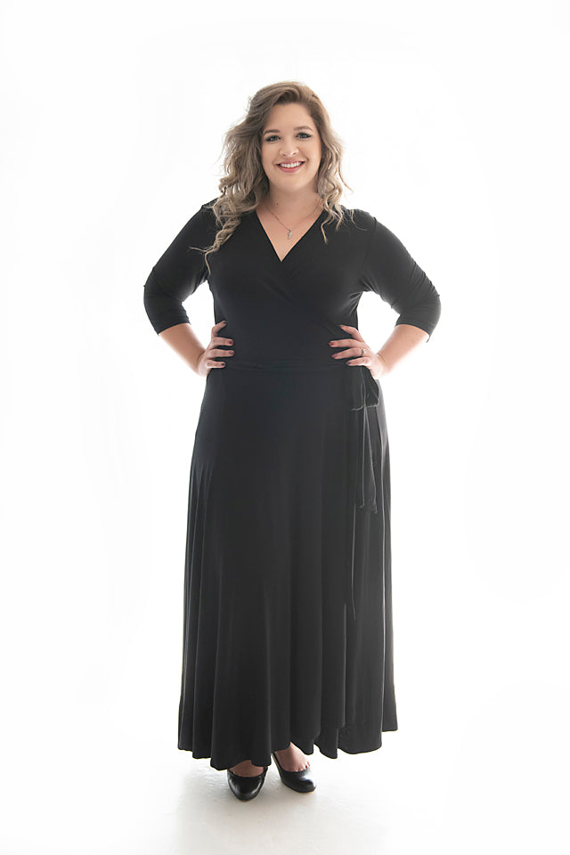 Rounded gal in our black maxi penny lane dress