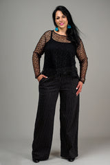 WIDE LEG PANTS – BLACK AND WHITE PINSTRIPE