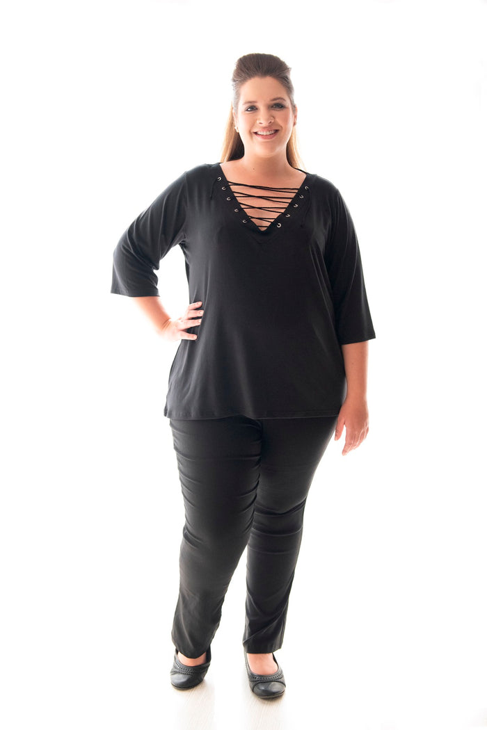 RAMBLER TEE WITH ¾ SLEEVE - BLACK