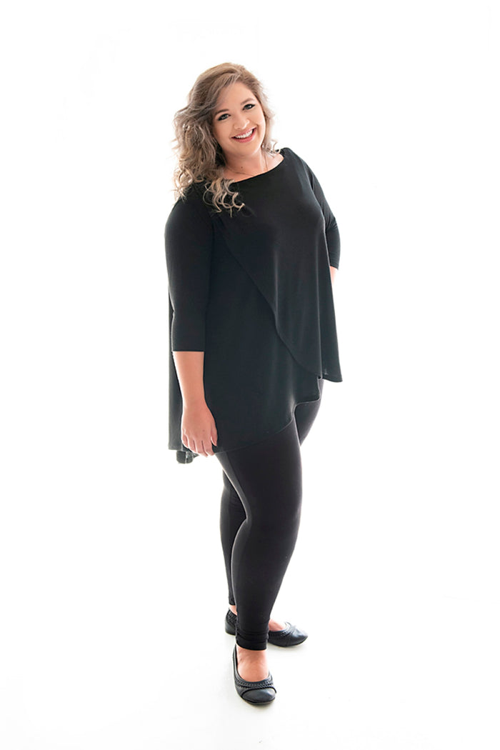 plus-size model in our black chloe top