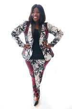 curvy gal in our leaf print cigar pants