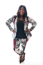 front view of gal in our leaf print cogar pants