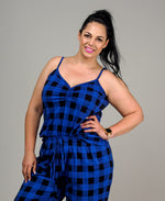 PJ CAMI GATHER NECK - COBALT TARTAN
