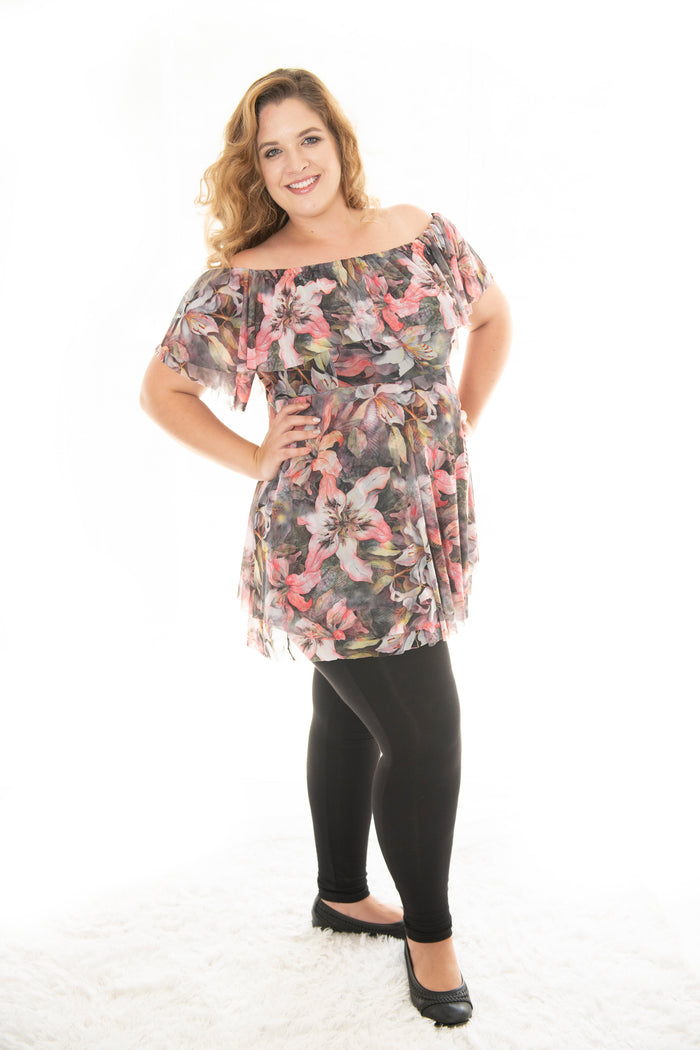 SOPHIA LONG LENGTH TOP WITH SHORT SLEEVE