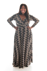 KATHRYN MAXI DRESS - EARTHTONE GEO PRINT