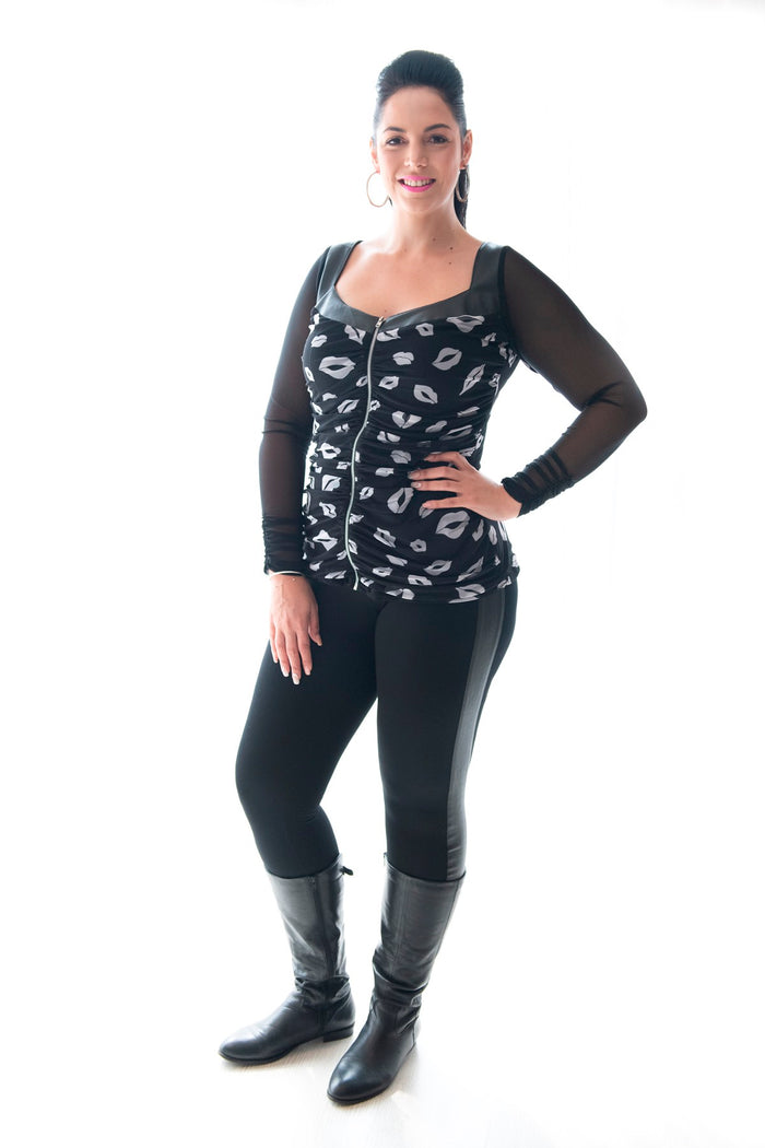 LEGGINGS WITH PLEATHER PANEL - BLACK