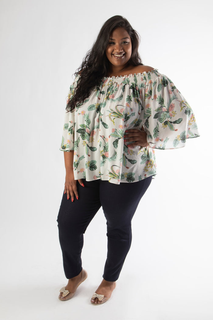 MARY ROSE OFFSHOULDER TOP – WHITE FLORAL