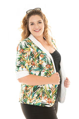plus-size model in our albertine summer jacket