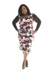 curvy model wearing our floral print bodycon dress