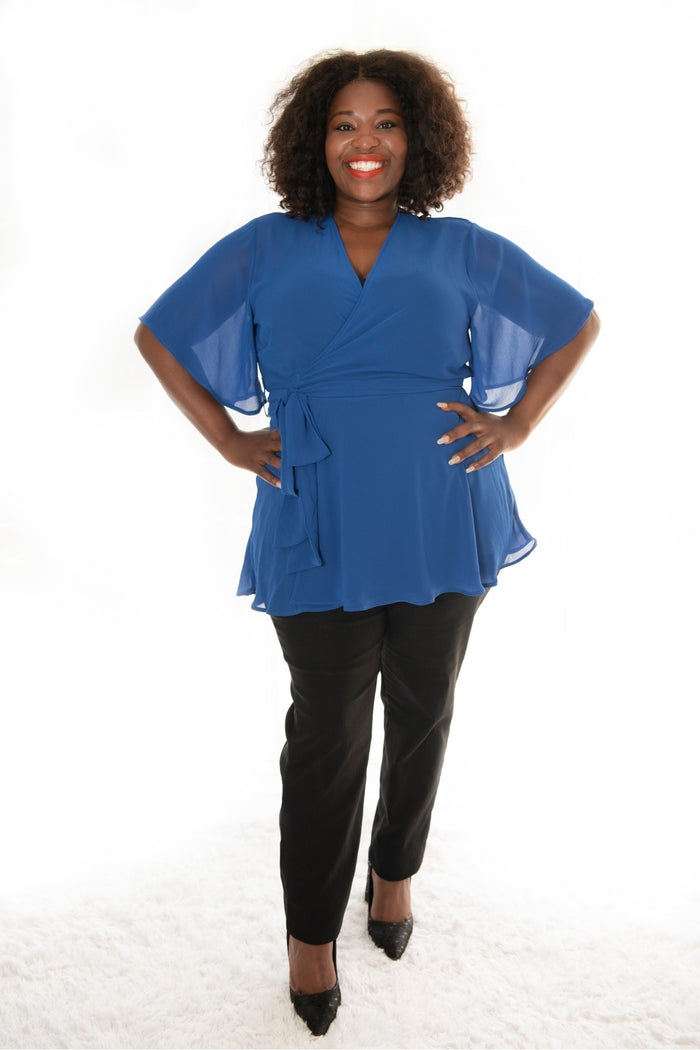 plus size woman in our cobalt ballerina top