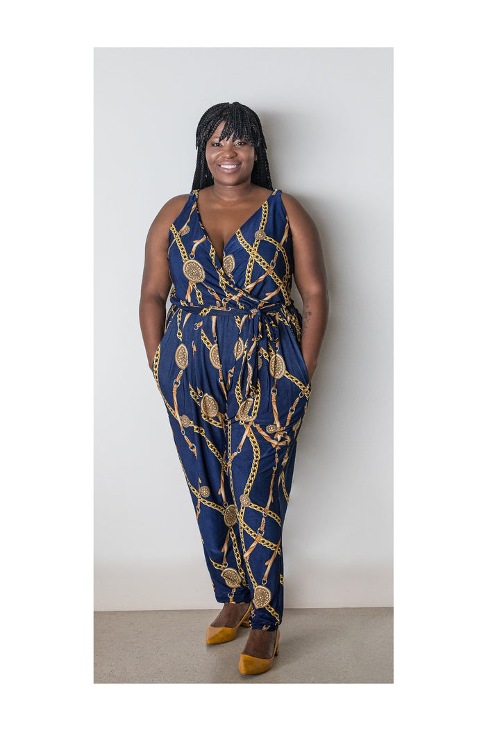 DARCY JUMPSUIT – NAVY/GOLD CHAIN PRINT
