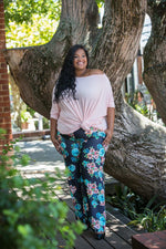 WIDE LEG PANTS – DENIM FLORAL