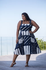 FRANCESCA DRESS – NAVY/WHITE PRINT
