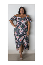 GEMMA DRESS – PINK/BLACK ROSE PRINT