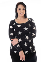 PJ CAMI TOP – BLACK/WHITE STAR PRINT