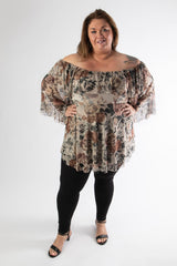 plus-size gal in our rose print sophia top