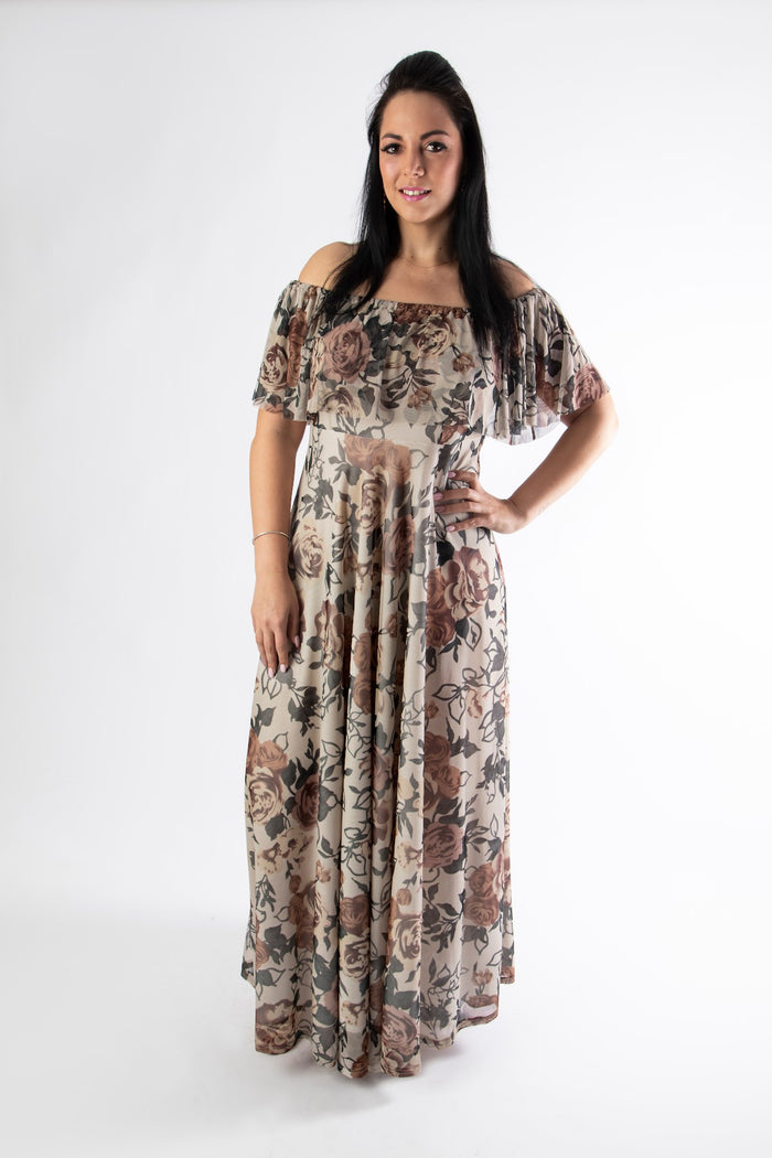 Buxom lady wearing our sophia maxi dress in a rose print