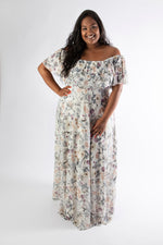 Vivacious model wearing our plus size white Sophia maxi dress