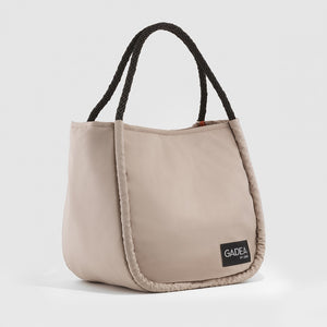 Bolso shopper nylon beige