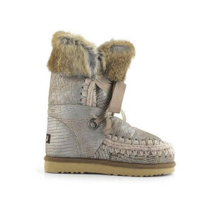 Botas MOU Eskimo lace and fur Camel metalizado