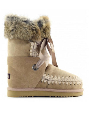 Botas MOU Eskimo lace and fur Camel