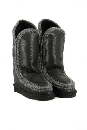 Botas MOU Eskimo Inner Wedge Tall Negro Brillo