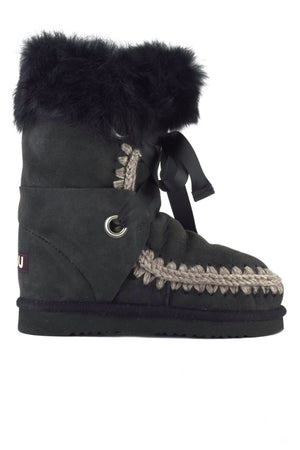Botas MOU Eskimo lace and fur Negro