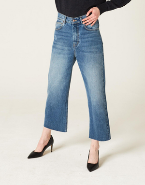 Denim cropped azul
