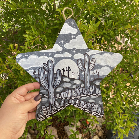 Desert Themed Hand Painted Star Held Outside